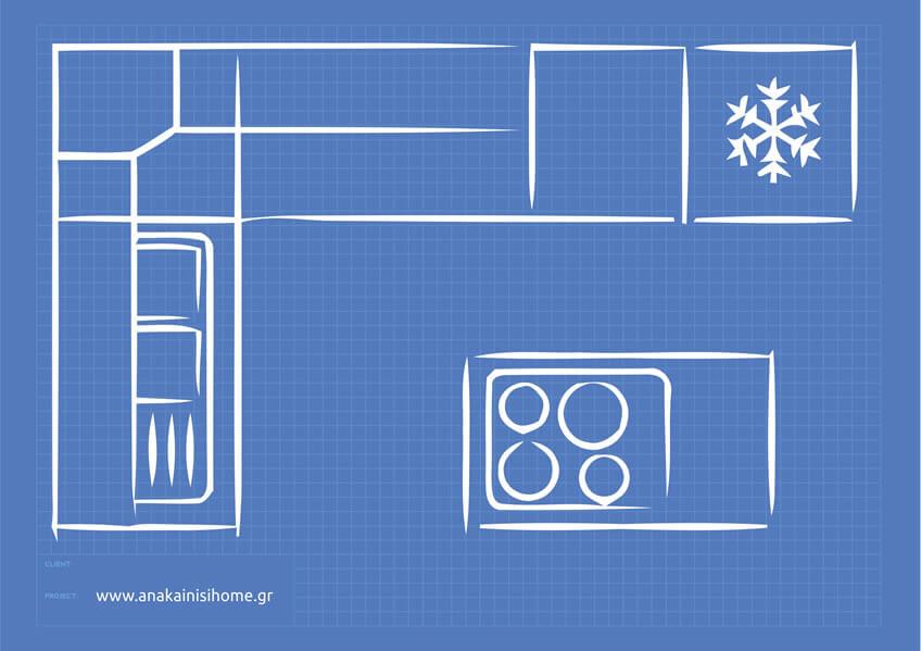 Κουζίνα σπιτιού με πάγκο στο κέντρο (νησίδα)