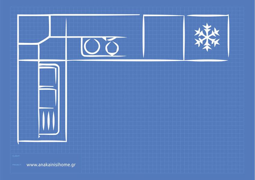 Κουζίνα σπιτιού σε ορθή γωνία